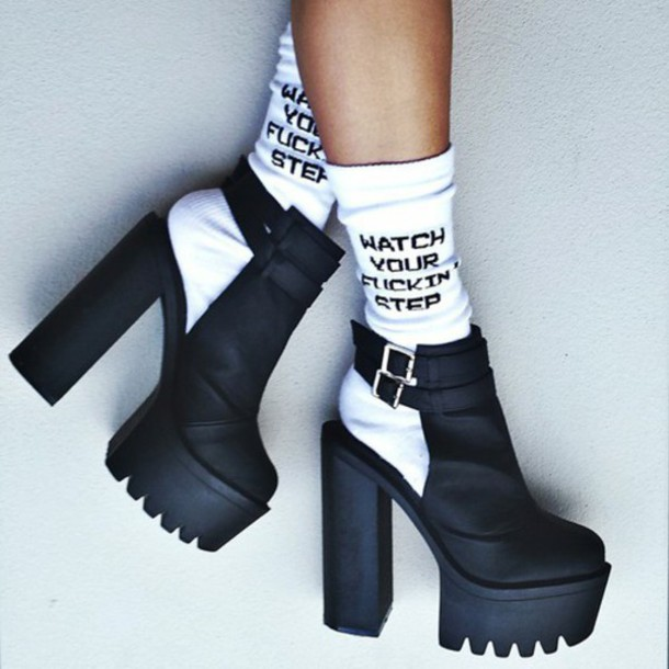 shoes platform heels chunky cut-out cut-out blvack platform shoes boots cut out ankle boots socks