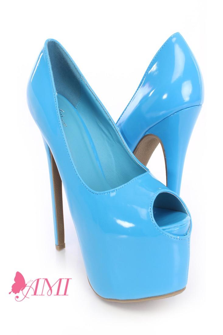 Sky Blue Peep Toe Platform Pump Heels Patent