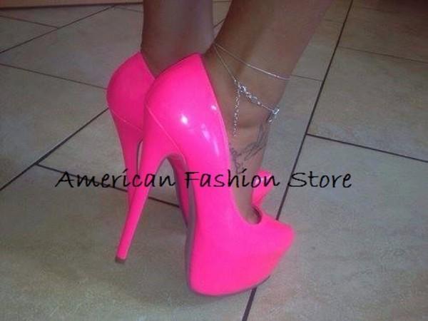 shoes platform shoes high heels pink hot pink neon neon pink neon pink pumps