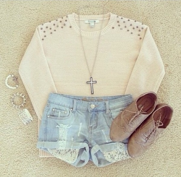jacket studs shoes jewels shorts sweater