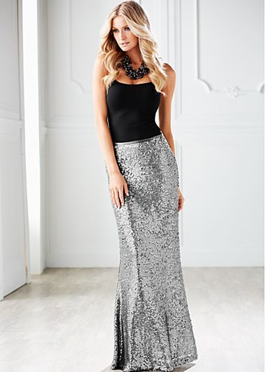 Black Seamless tank, sequin maxi skirt  from VENUS