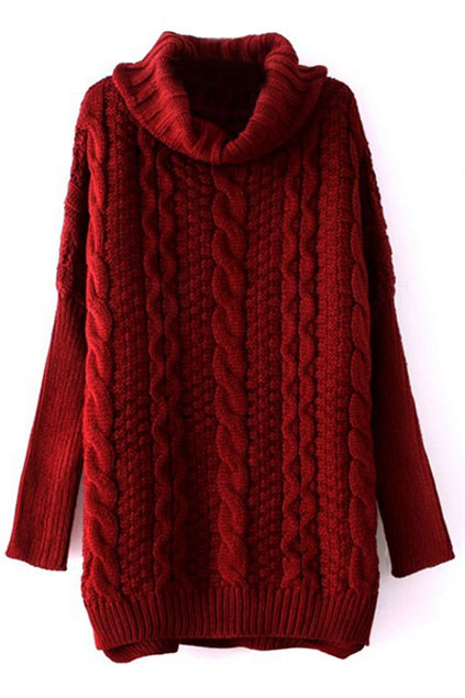 ROMWE   Chunky Cable Knit Turtleneck Claret-red Jumper, The Latest Street Fashion