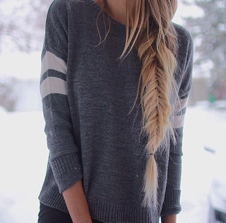 sweater grey sweater grey top grey winter sweater winter outfits top knitted sweater knitwear shirt braid hair/makeup inspo blouse white stripes long big warm comfty coldweather warm sweater style cold long sleeves sweter