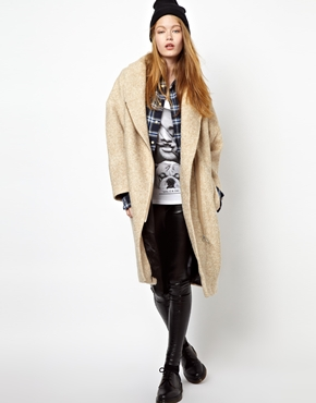 Eleven Paris   Eleven Paris Taylor Cream Overcoat with Leather Tabs at ASOS