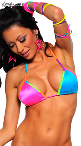 Triangle Top With Rainbow Trim, Neon Trim Triangle Top, Womens Adult Neon Tops