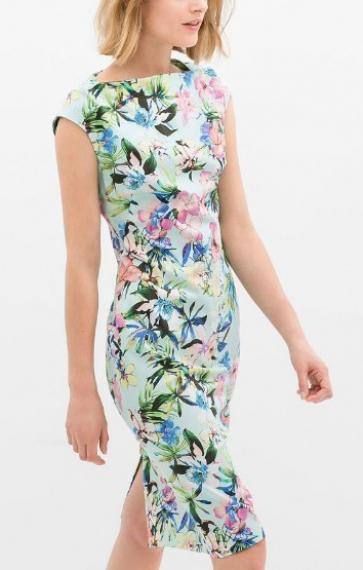 Boat Neck Back Split Figure-hugging Chiffon Floral Dress