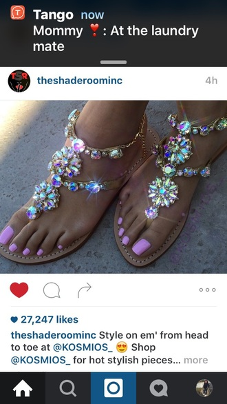 shoes sandals bling cute multicolor jewels colorful flat sandals bag diamonds size9 or 10 silver flat sandals colors stones sandals sparkle swarovski summer nude pink rhinestone sandals diamonds sandals rhinestones gemstone girly jeweled sandals
