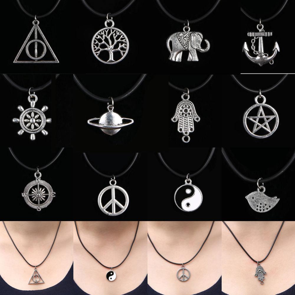 12 Style NEW Tibetan Silver Pendant Necklace Choker Charm Black Leather Cord | eBay