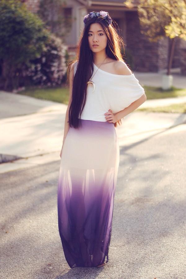 skirt purple ombré maxi skirt hair accessory