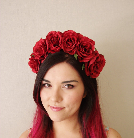 Red Rose Flower Crown  floral headband floral by MissWildFlowers