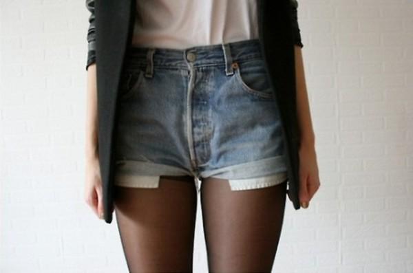 shorts High waisted shorts demin blazer tumblr tumblr girl girly fashion indie hipster elegant chic High waisted shorts vintage blue black white