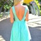 Teal/turquoise party dress - mint sleeveless floral lace skater | ustrendy