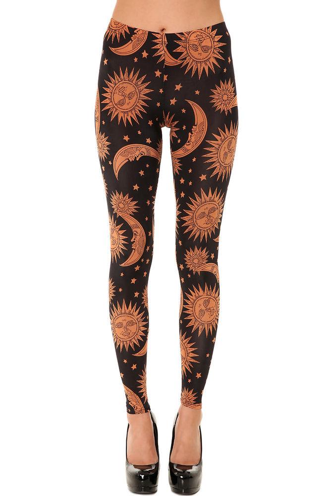 Karmaloop See You Monday The Sun and Moon Print Leggings Black | eBay