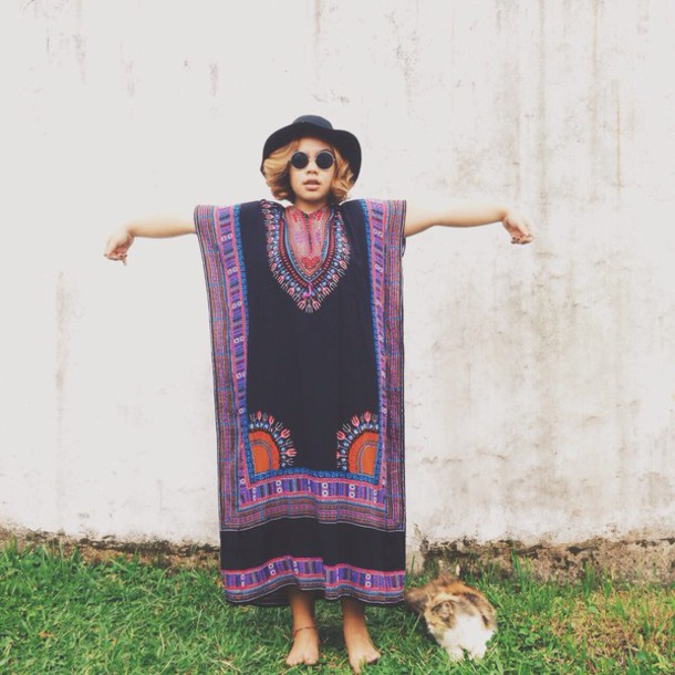 dress short hair hat sunglasses boho boho hippie dress fashion boho dress boho chic hippie hippie chic