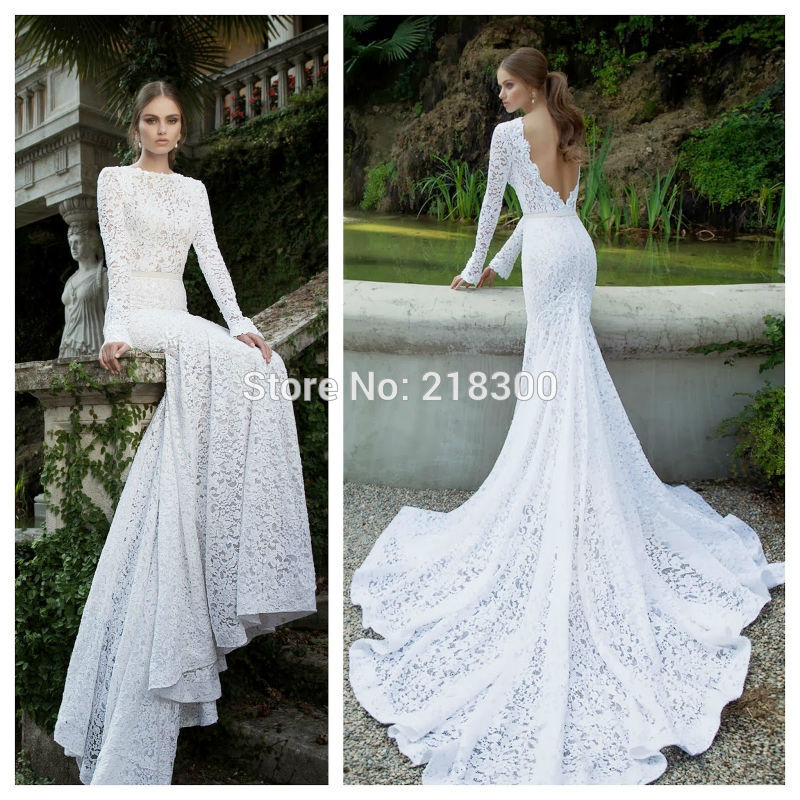 Buy long sleeves backless lace wedding for Fitted lace wedding dress with open back