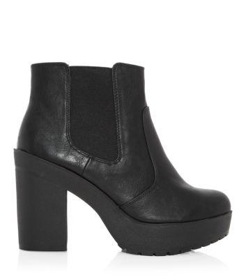 Black Chunky Platform Chelsea Boots