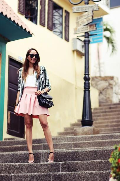 preppy fashionist blogger pink skirt stripes blazer sunglasses jacket top skirt shoes bag printed blazer white top mini skirt black sunglasses sandals sandal heels high heel sandals