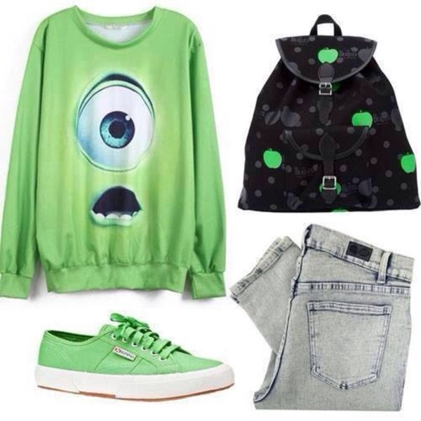 bag green fluorescent color black backpack apple green mike wazowski jeans fluo shirt sweater monsters university pants vans