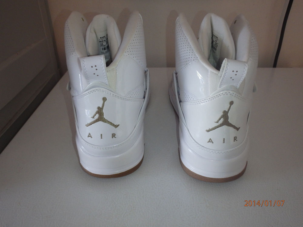 Vntg Air Jordan Nike Flight 45 High 9 5 White Khaki Brown Gum Bottom 384519 104 | eBay