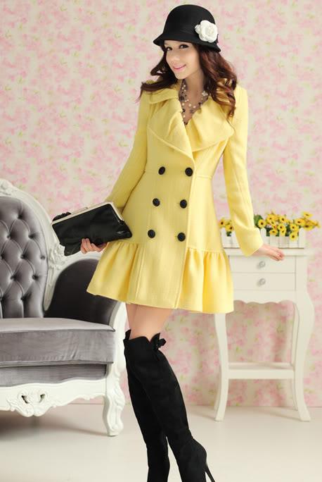 Elegnt Turndown Collar Wool Coat