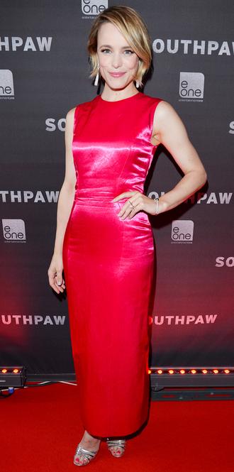 dress red dress midi dress rachel mc adams satin satin dress