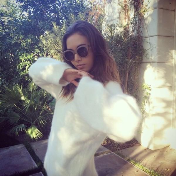 sweater jumper sunglasses instagram tumblr rosy white fuzzy sweater fur cute fuzzy sweater tumblr fashion