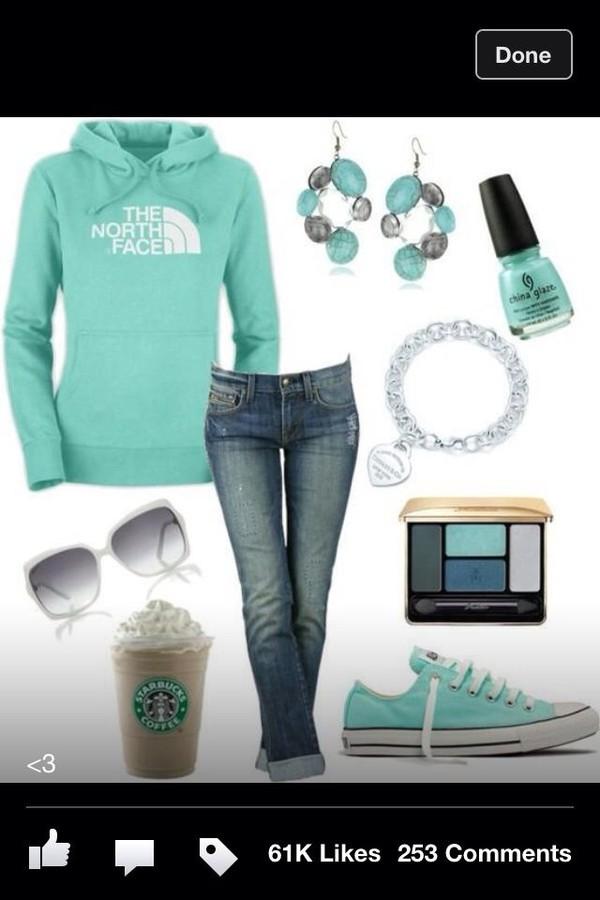 shoes blue converse sweater sunglasses jeans nail polish jewels
