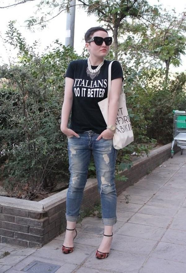 jewels tote bag ripped jeans sunglasses birkin strappy heels jeans bag t-shirt