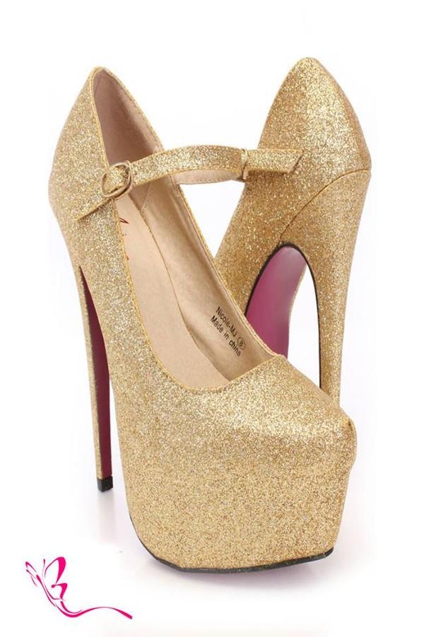 Gold Glitter Maryjane Heels @ Amiclubwear Heel Shoes online store