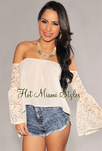 Ivory Off-The-Shoulder Bell Lace Sleeves Top