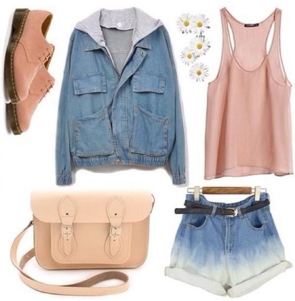 coat blouse jacket denim blue pink white plants flowers be belt beautiful cute boots bag shorts shoes