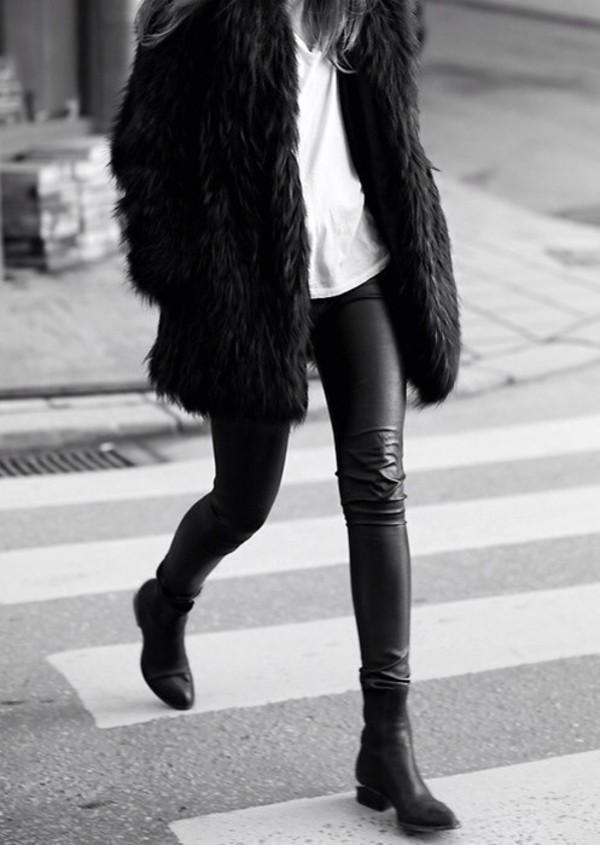 jacket faux fur jacket black fur jacket shoes vogue leather jeans leather pants
