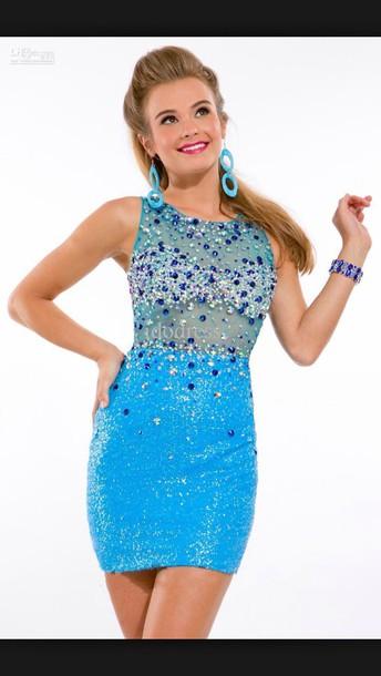 dress blue prom dress embellished sequin dress sleeveless dress