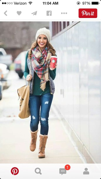 jeans boots scarf top shirt