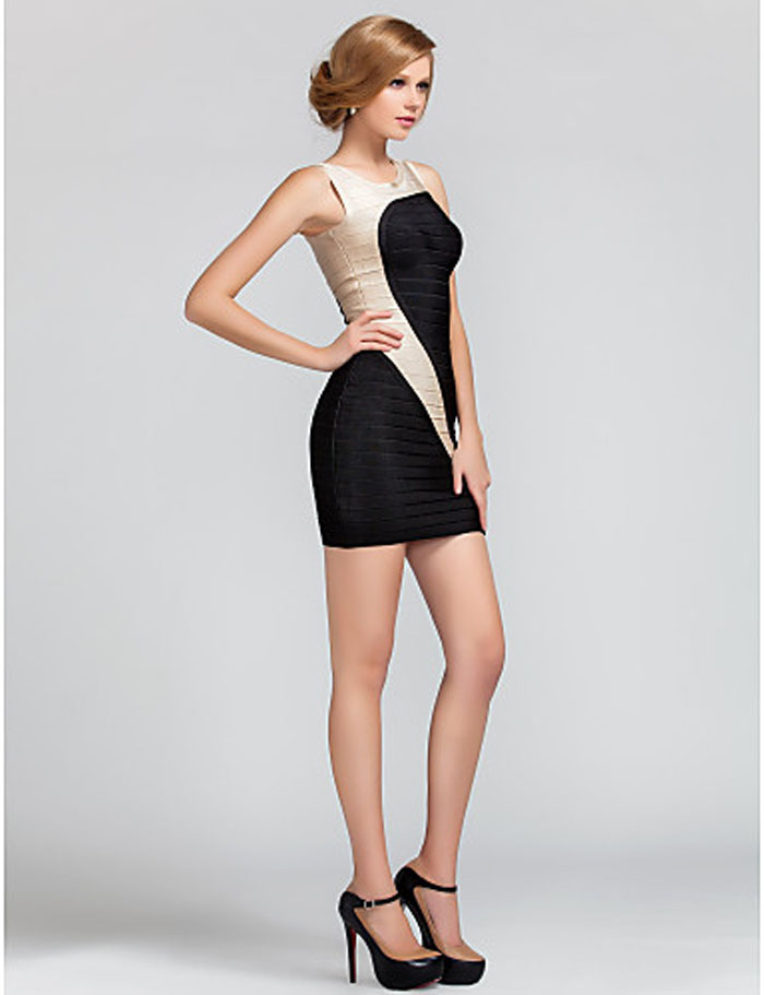 Fashion color matching Mini Bandage Dress for gilr