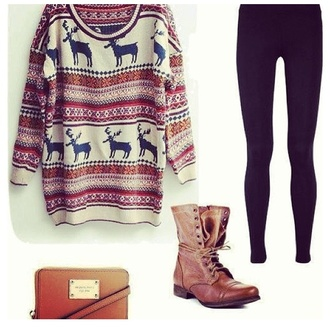 sweater moose aztec cute girly shoes bag cute pattern cute sweater combat boots deer
