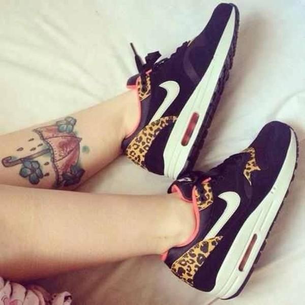 shoes leopard print nike pink black