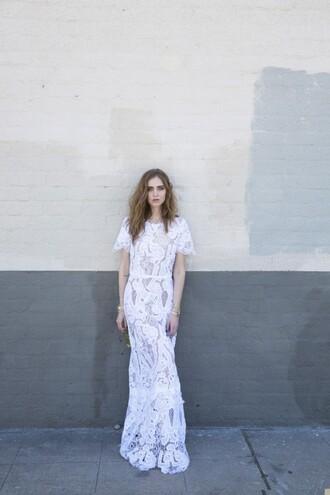 the blonde salad blogger jacket pants white dress lace dress white lace dress see through