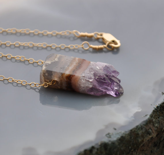 Gold Amethyst Necklace Crystal Necklace Raw by GueGueCreations