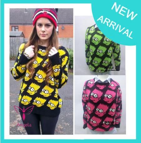 2014 Bart Simpson Pullover cartoon sweater women fashion vintage loose outerwear  Top three colour Free shipping WS 017-in Pullovers from Apparel & Accessories on Aliexpress.com