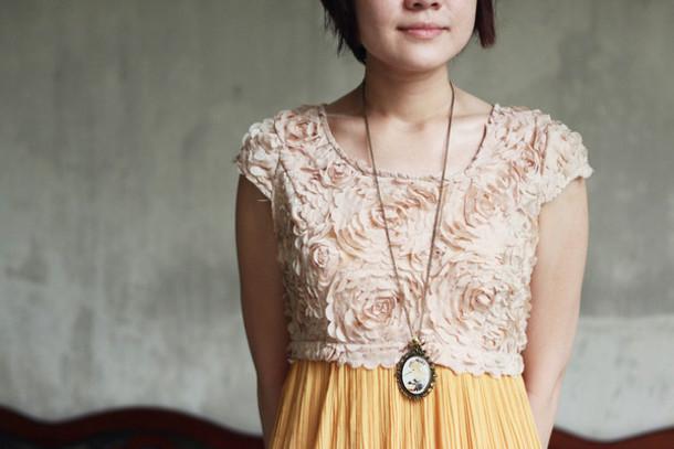 pleated dress yellow dress pink dress floral dress