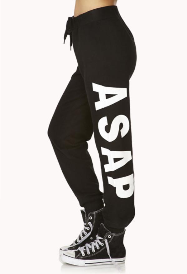pants black white sweatpants asap bottom converse