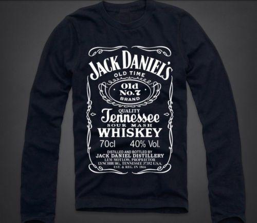New Jack Daniel's Label Mens Long Sleeve T Shirt Tennessee Whiskey Quality 47   eBay