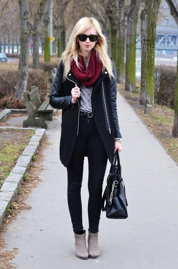vogue haus sweater coat jeans shoes bag sunglasses belt jewels scarf