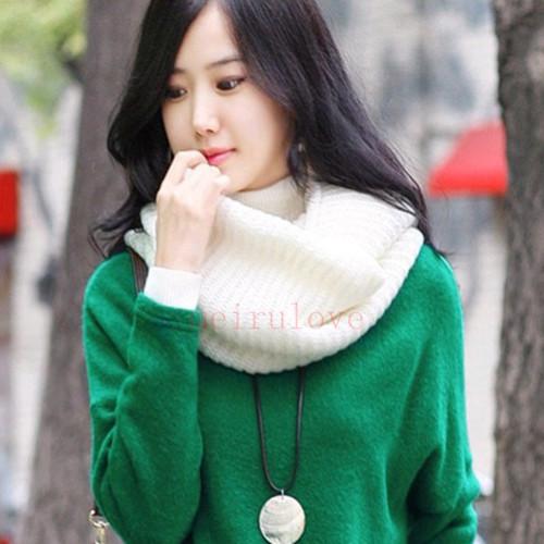 Unisex Women Winter Warm Infinity 2 Circle Cable Knit Cowl Neck Long Scarf Shawl | eBay