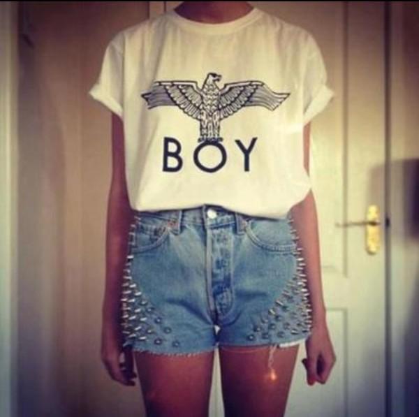 shorts studded shorts shirt