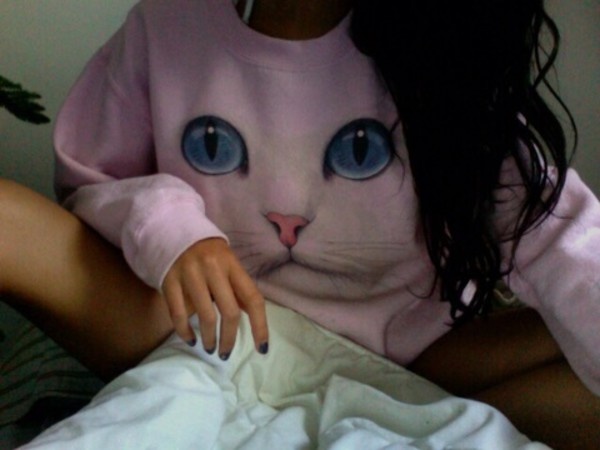 sweater cats pink pale pretty tumblr