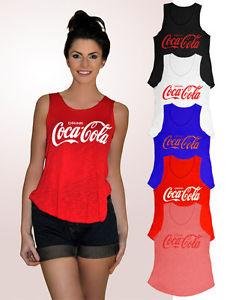 Womens Girls Sleeveless Coca Cola Print Vest Tshirt Tee Slub Tank Top Shirt 8-12 | eBay