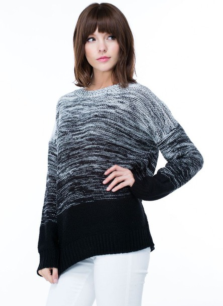 sweater marled knit marel knitwear ombre sweater ombre ombre top style black top light gray charcoal gojane.com gojane minimalist long sleeves