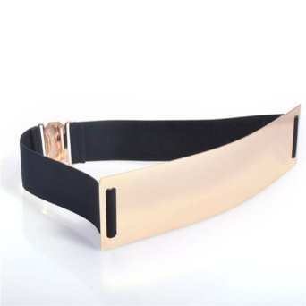 Amazon.com: Daditong Fashion Chic Metal Metallic Bling Gold Mirror Shiny Skinny Wide Belt (Black): Clothing